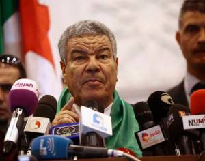 Ammar Saidani, newly elected Secretary General of Algeria's ruling National Liberation Front, speaks during a central committee meeting in Algiers